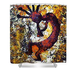 Kokopelli The Flute Player Shower Curtain by Barbara Snyder