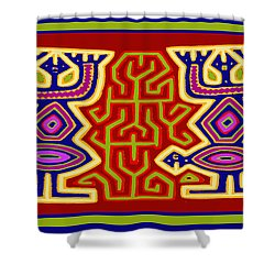 Shower Curtain featuring the digital art Kuna Bird Spirits by Vagabond Folk Art - Virginia Vivier