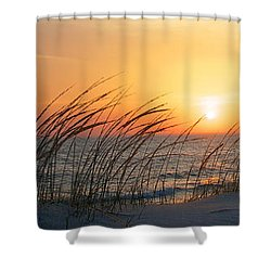 Lake Michigan Sunset Panorama Shower Curtain by Mary Lee Dereske