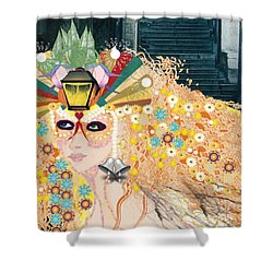 Shower Curtain featuring the digital art Lantern Fairy by Kim Prowse