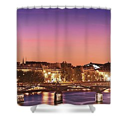 Shower Curtain featuring the photograph Left Bank At Night / Paris by Barry O Carroll