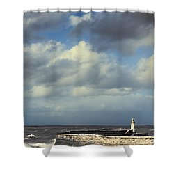 Lighthouse At Whitehaven Shower Curtain by Amanda Elwell