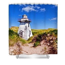 Lighthouse On The Dunes Shower Curtain by Dan Dooley