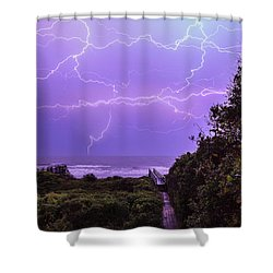 Lightning Over The Beach Shower Curtain