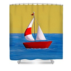 Lil Sailboat Shower Curtain by Cindy Thornton