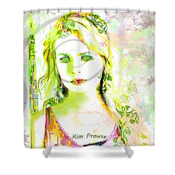 Shower Curtain featuring the digital art Lily Lime by Kim Prowse