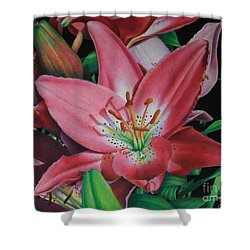 Shower Curtain featuring the painting Lily's Garden by Pamela Clements