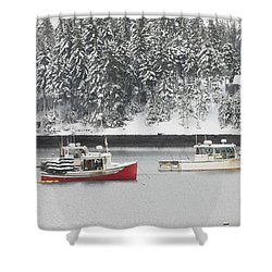 Lobster Boats After Snowstorm In Tenants Harbor Maine Shower Curtain by Keith Webber Jr