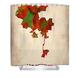 Los Angeles Watercolor Map Shower Curtain by Naxart Studio