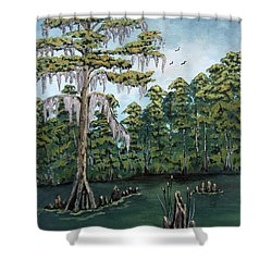 Louisiana Cypress Shower Curtain by Suzanne Theis