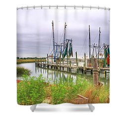 Lowcountry Shrimp Dock Shower Curtain