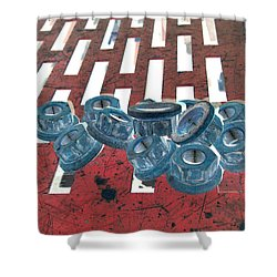 Lug Nuts On Grate Vertical Shower Curtain by Heather Kirk