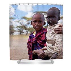 Maasai Children Portrait In Tanzania Shower Curtain by Michal Bednarek