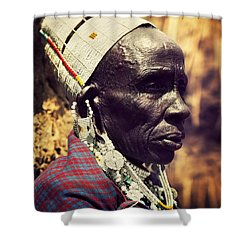 Maasai Old Woman Portrait In Tanzania Shower Curtain by Michal Bednarek