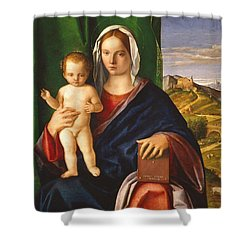 Madonna And Child Shower Curtain by Giovanni Bellini