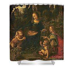 Madonna Of The Rocks Shower Curtain by Leonardo da Vinci