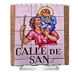 Madrid Street Sign Shower Curtain by David Pringle