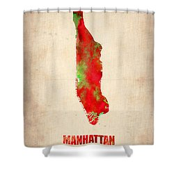 Manhattan Watercolor Map Shower Curtain by Naxart Studio
