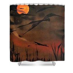 Marsh Birds Shower Curtain