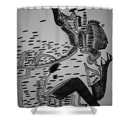 Shower Curtain featuring the drawing Mbakumba Dance - Zimbabwe by Gloria Ssali