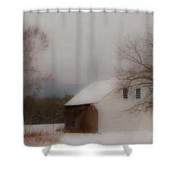 Shower Curtain featuring the photograph Melvin Village Barn In Winter by Brenda Jacobs