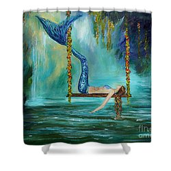 Mermaids Lazy Lagoon Shower Curtain by Leslie Allen