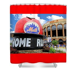Mets Home Run Apple Shower Curtain