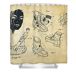 Michael Jackson Anti-gravity Shoe Patent Artwork Vintage Shower Curtain by Nikki Marie Smith