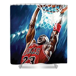 Michael Jordan Artwork Shower Curtain by Sheraz A