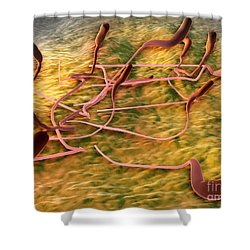 Microscopic View Of Sperm Shower Curtain by Stocktrek Images