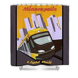 Minneapolis Light Rail Travel Poster Shower Curtain by Jude Labuszewski