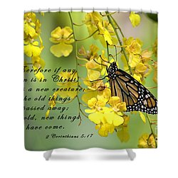 Monarch Butterfly With Scripture Shower Curtain