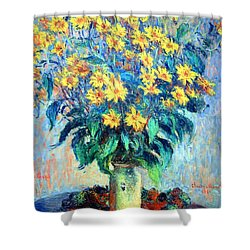 Shower Curtain featuring the photograph Monet's Jerusalem  Artichoke Flowers by Cora Wandel