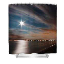 Moon Rise Over Anna Maria Island Historic City Pier Shower Curtain