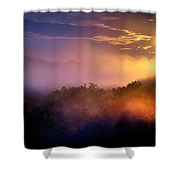 Moon Setting In Mist Shower Curtain