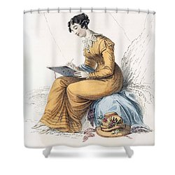 Morning Dress, Fashion Plate Shower Curtain by English School