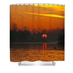 Morning Over River Shower Curtain