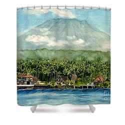 Shower Curtain featuring the painting Mt. Agung Bali Indonesia by Melly Terpening