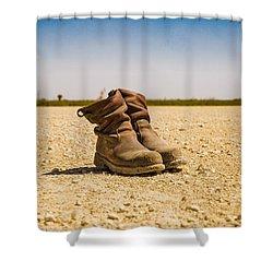 Muddy Work Boots Shower Curtain