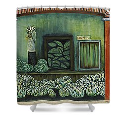 Mural On A Wall, Cancun, Yucatan, Mexico Shower Curtain