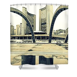 Nathan Phillips Square Shower Curtain by Valentino Visentini