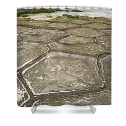 Natural Forming Pentagon Rock Formations Of Kumejima Okinawa Japan Shower Curtain by Jeff at JSJ Photography