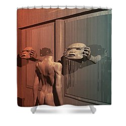 Shower Curtain featuring the digital art New Faces by John Alexander