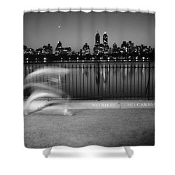 Night Jogger Central Park Shower Curtain