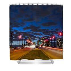 Night Lights Shower Curtain by Debra and Dave Vanderlaan