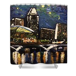 Night On The River Shower Curtain by Belinda Low