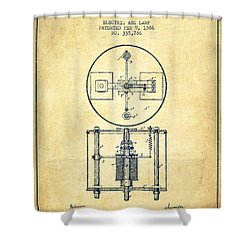 Nikola Tesla Patent Drawing From 1886 - Vintage Shower Curtain by Aged Pixel