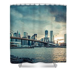 Nyc Skyline In The Sunset V1 Shower Curtain by Hannes Cmarits