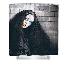 Occult Medieval Performer On Castle Brick Wall Shower Curtain