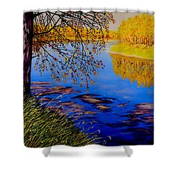 Shower Curtain featuring the painting October Afternoon by Sher Nasser